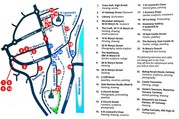 Map of the arts trail